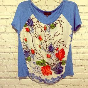 Hale Bob Sz M Embellished Blue & White Floral Top
